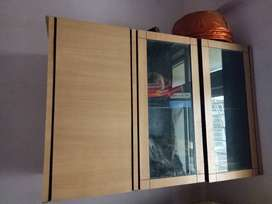 Wooden Cabinet with Glass Shelf