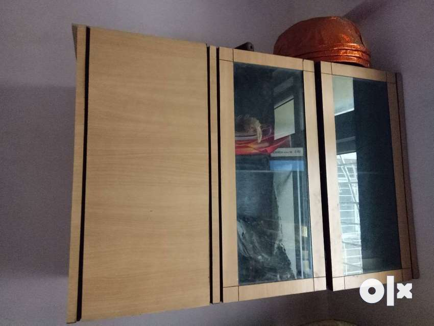 Wooden Cabinet with Glass Shelf 0