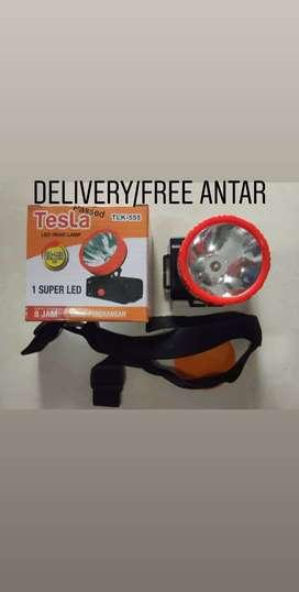 Gratis ongkir-Senter kepala/Head lamp Tesla TLK-555 rechargerable