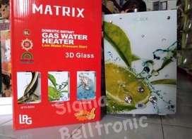 Water heater DIGITAL KACA / Pemanas air MATRIX pakai Gas LPG