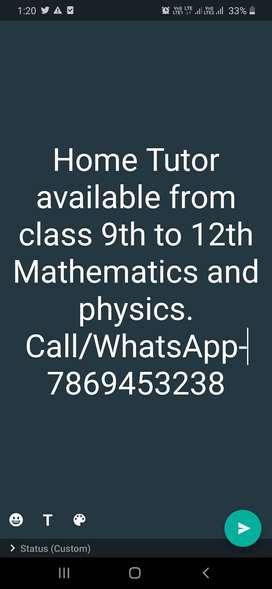 Home Tutor, I can available Near Bharti niketan/Shanti niketan/Gautam.