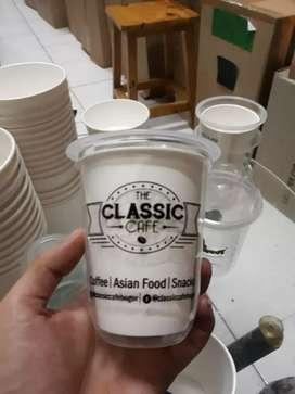 Sablon gelas plastik plus logo CUP PET 12oz⁷