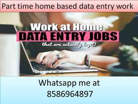 Home based job part time work data entry job typing work