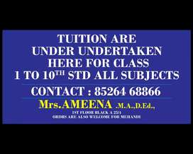 HOME TUTOR FOR CLASSES 1TO 10
