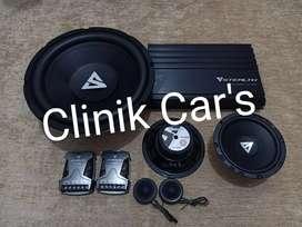Paket audio serba steal (subwoofer, power & speaker)**