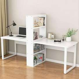 Computer Office Desk with Shelves for Two Person, Extra Large