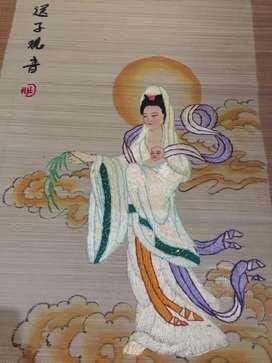 """Bordiran benang dan bambu """"Dewi Kwan Im"""""""