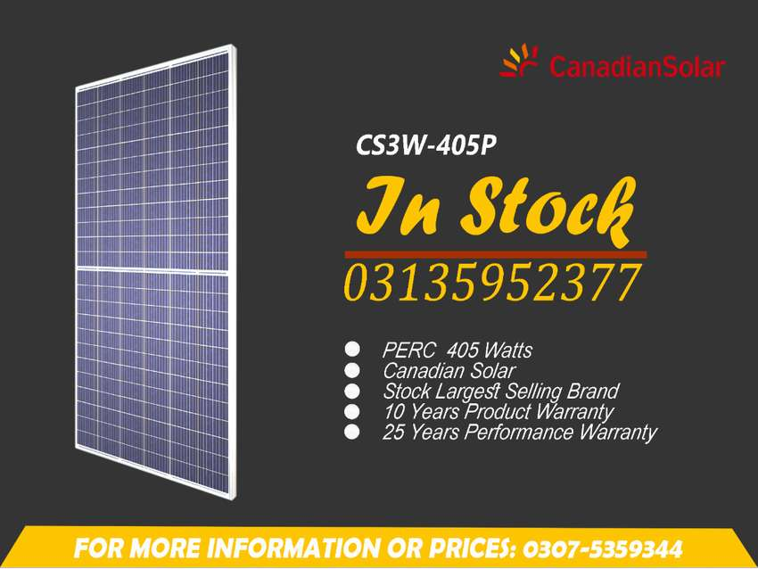 Price for Canadian Solar Panel, 405 Watts, Tier 1 A Grade With All Doc 0
