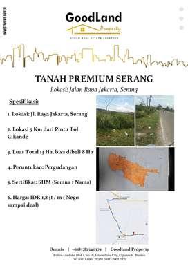 Jual Cepat Tanah  Premium di Jalan Raya Jakarta Serang Luas 13 HA