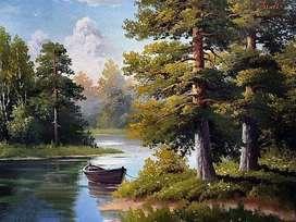 lukisan kanvas pemandangan alam indah