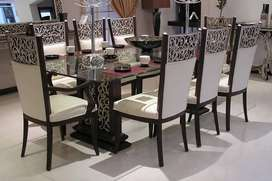 Dinning chairs 8 & dinning pillar 2 Raw without polis & posish
