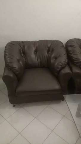 Brown 7 Seater Sofas with Table