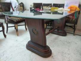 Teak wood  Dining Table  with glass top at Rs 15999/-
