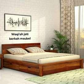 Tempat tidur minimalis model laci 2, bahan kayu jati tua terbaik
