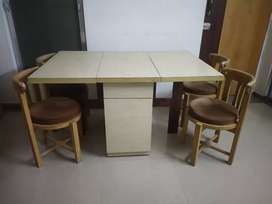 Wooden Foldable Dining Table with 4 Chairs