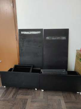 TV or home theater table , with glass top and drawers