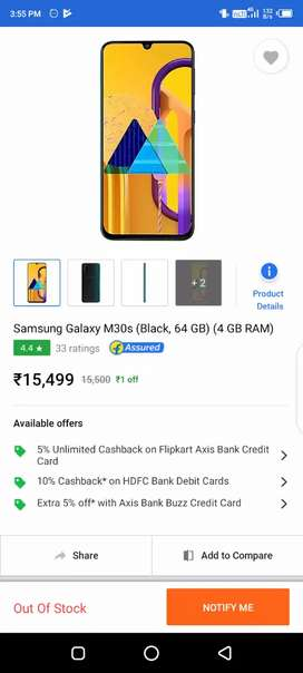 Samsung galaxy m30s 4/64 mobile only 10 days old now