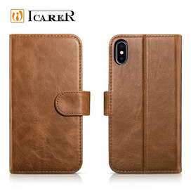 FLIP CASE IPHONE X Wallet - Cassing Kulit Asli