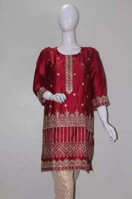 Silk embroided kurti