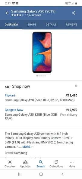 Samsung Galaxy A20 32GB (Blue, 3GB RAM)