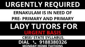LADY HOME TUTOR NEEDED FOR PRIMARY CLASSES