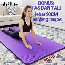 Matras Yoga Mat LEBAR 90CM TEBAL 10MM Senam Pilates Olahraga - HITAM L