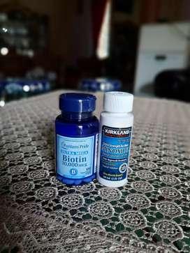 Termurah kirkland minoxidil penumbuh brewok,rambut,alis biotin peomix