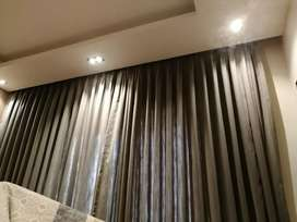 Curtain stitched full ceiling height