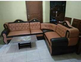 Sofa furniture ruang tamu siti oscar coklat mahkota+meja bord