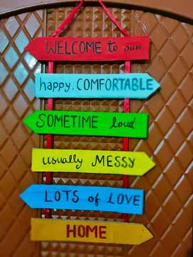 Handmade welcome hanging for home