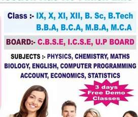 Home Tuition Available For class 6th to 12th For  Boards CBSE and ICSE