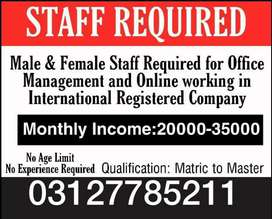 Male and female required for online work