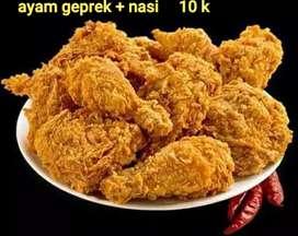 Ayam geprek + nasi 10k