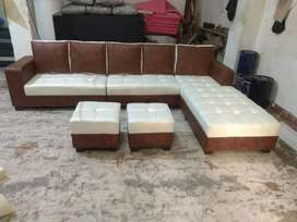 Cream and brown colour new sofa