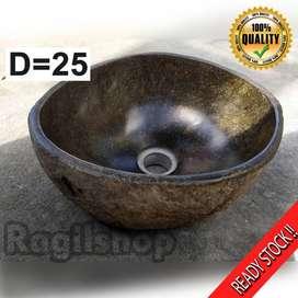 Ragilshop wastafel batu alam asli grosir dan retail ukuran d25