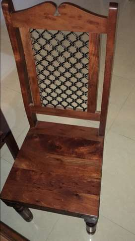 Solid wood dining chairs (4)