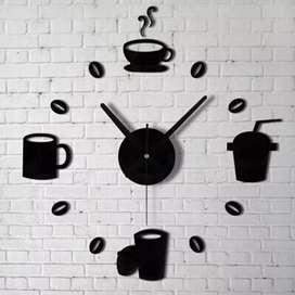 Jam Dinding Clock Quartz Creative Design Model Kopi Cafe