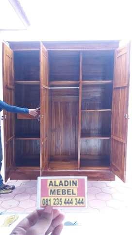 Lemari Jati Pintu 3 Sleding Murah(106x50x205) Tanggulangin