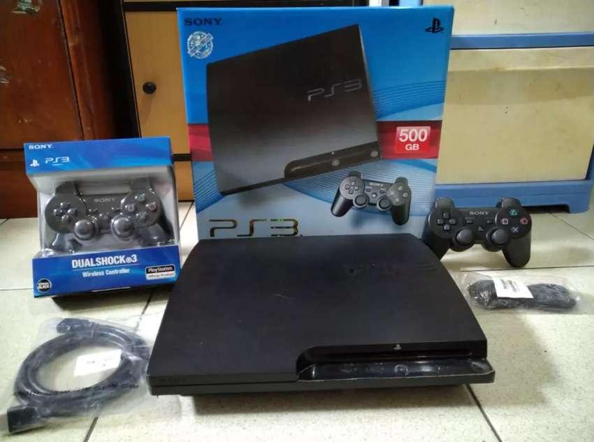 PS3 Slim 500gb + Stik 2 pcs + 100 permainan Dijual cepet Bisa Diantar 0