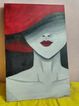 Lady in red hat handmade 2.5ft×1.5ft canvas painting