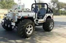 Modified open white jeep