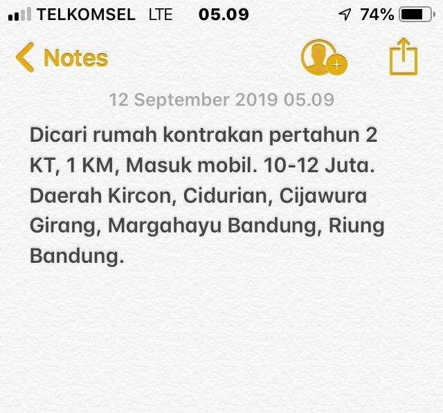 Dicari Kontrakan Kircon, Cidurian, Cijawura Girang, Margahayu Bandung 0