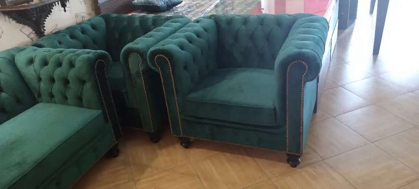 New Classic tufted seven seater sofa in imported shaineel fabric