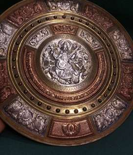 3 METALS WALL DECOR PLATE AS SILVER COPPER AND BRASS