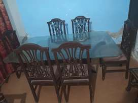 6 chair dawning table set mirror