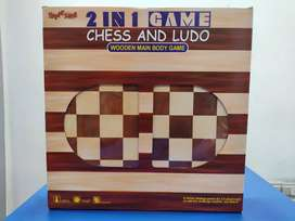 NEW WOODEN CHESS & LUDO BOARD :- FRESH