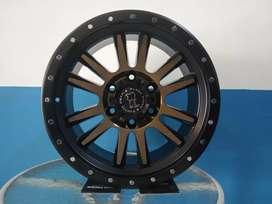 Velg black rihno ring 17x9.0 h6x139.7 et10 panther Pajero Fortuner