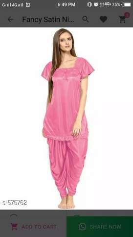 Satin patiyala night dress