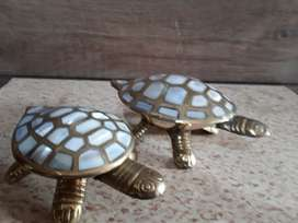Pure brass tortise set heavy solid weight sea shell work