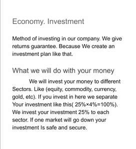 Multiple your financial stability. Invest and growth your money.